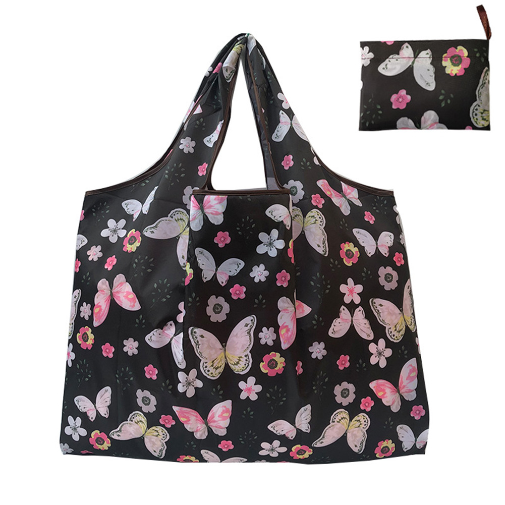 Reusable Foldable Shopping Bags Large Size Tote Bag with Handle Black Butterfly 109_XL