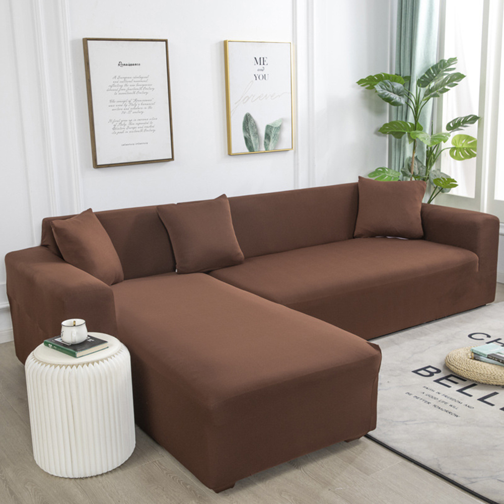 Universal Cloth Sofa Covers for Living Room Elastic Spandex Slipcovers light brown_Three persons (190-230cm applicable