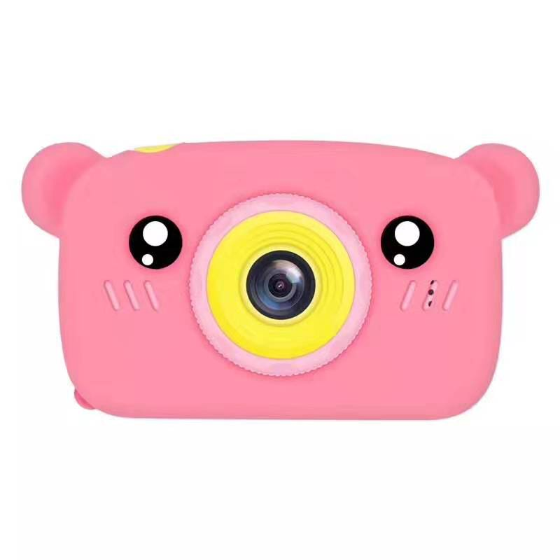 Lovely Auto Focus Digital Camera Cartoon High Definition Mini Sports Camera Toy Gift for Kids Pink_With 8G memory card