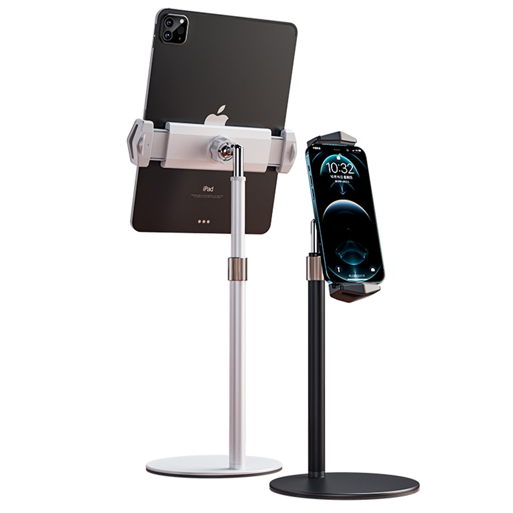 Desktop  Stand Holder For Ipad Tablet Imini 360 Rotation Shoot Video Live Streaming Zoom Meeting white