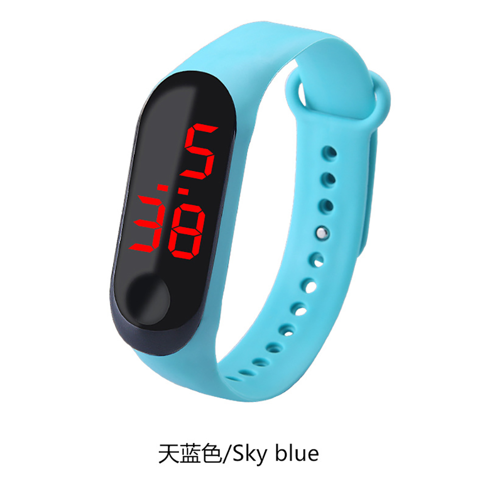 Fashion Student Couple Led Casual Sports Touch Electronic Watch Millet 3 Bracelet Watch Trend Fashion Mesh Belt Watch Sky blue
