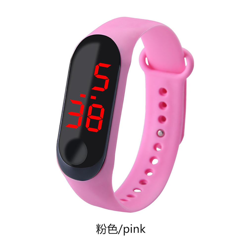 Fashion Student Couple Led Casual Sports Touch Electronic Watch Millet 3 Bracelet Watch Trend Fashion Mesh Belt Watch Pink
