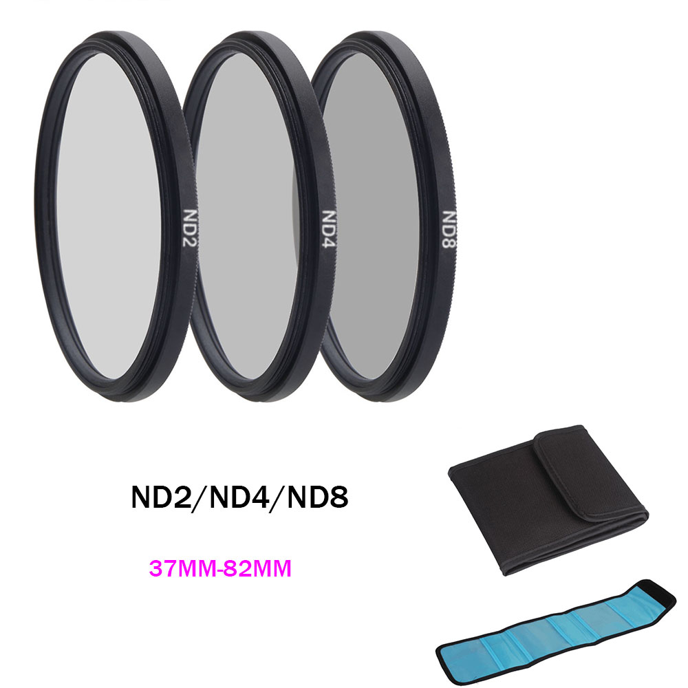 ND Filter Neutral Density ND2 ND4 ND8 Filtors 37 52 58 62 67 72 77 82mm Photography for Canon Nikon Sony Camera 52MM