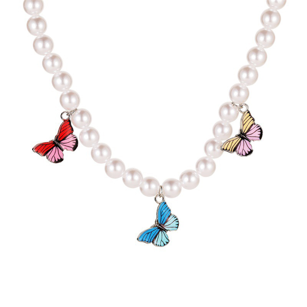 Women's Necklace Pearl Colorful Butterfly-shaped Clavicle Chain white