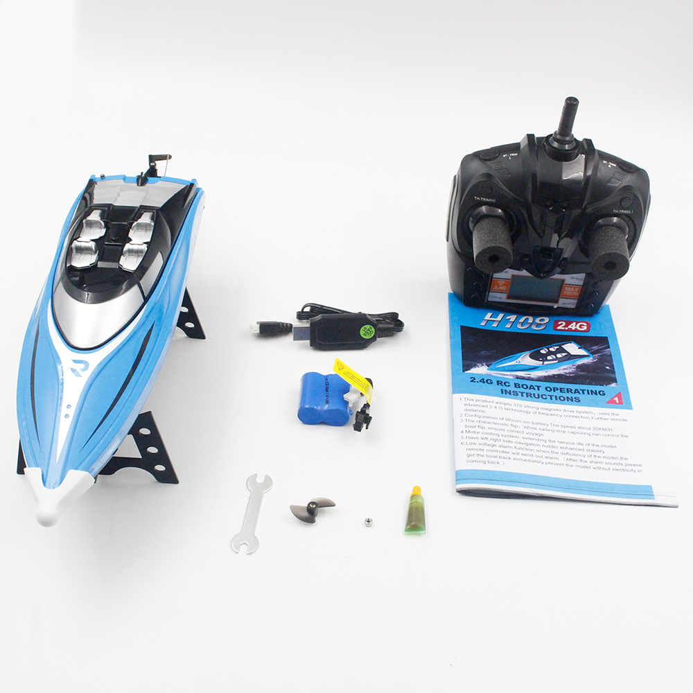 2.4GHz 4CH 25KM/h High Speed Mini Racing RC Boat Speedboat Ship with Water Cooling System Flipped for Kid Toys Gift As shown
