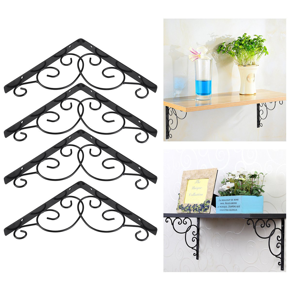 4pcs Shelf Brackets Iron Wall Mount Space Saving DIY Open Shelving Decorative Corner Joint Angle Bracket 20*20cm
