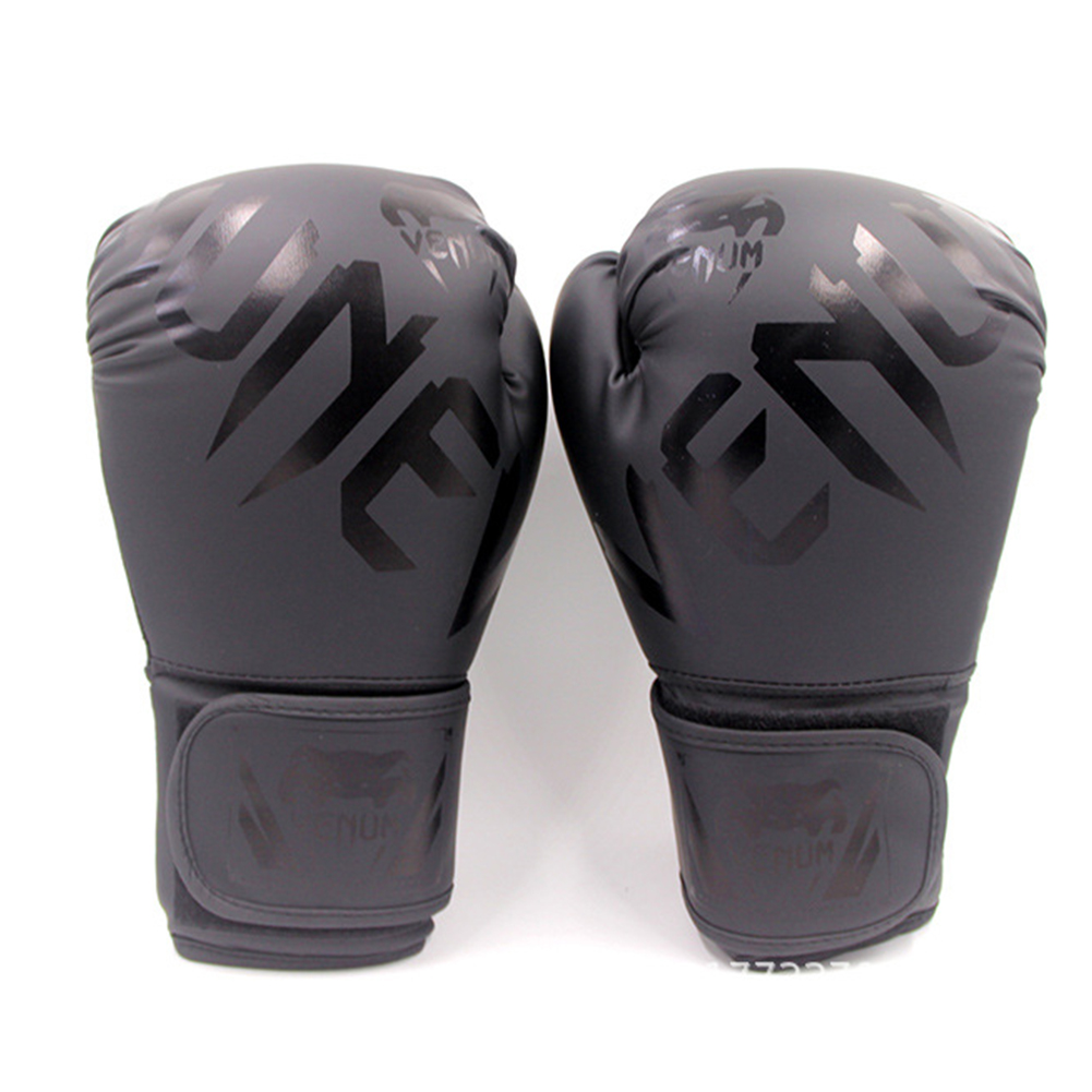 Men Women Kids PU Leather Kick Boxing Gloves Thai Boxing Sports Hands Protector black_One size M