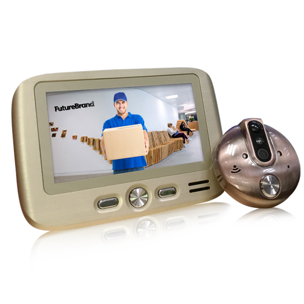 4.3 Inch HD Intelligent Electronic Cat Eye Visual Doorbell Mobile Detection Photo Video Gold
