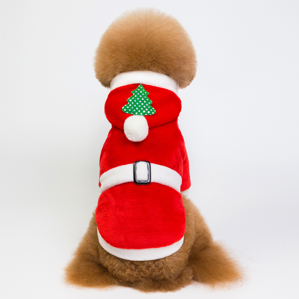 Pet Christmas Hooded Clothing Thicken Warm Plush Coat for Winter Dogs Teddy red_S