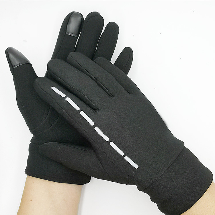 Gloves Winter Therm With Anti-Slip Elastic Cuff touch screen Soft Gloves Sport Driving Glove Cycling Warm Gloves black_L