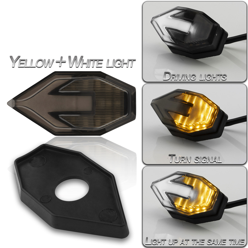 1 Pair Motorcycle  Turn  Signal Motorcycle Accessories Arrow-shaped Dual-color Light-guided Led Side Turn Signal Lights Yellow + white light