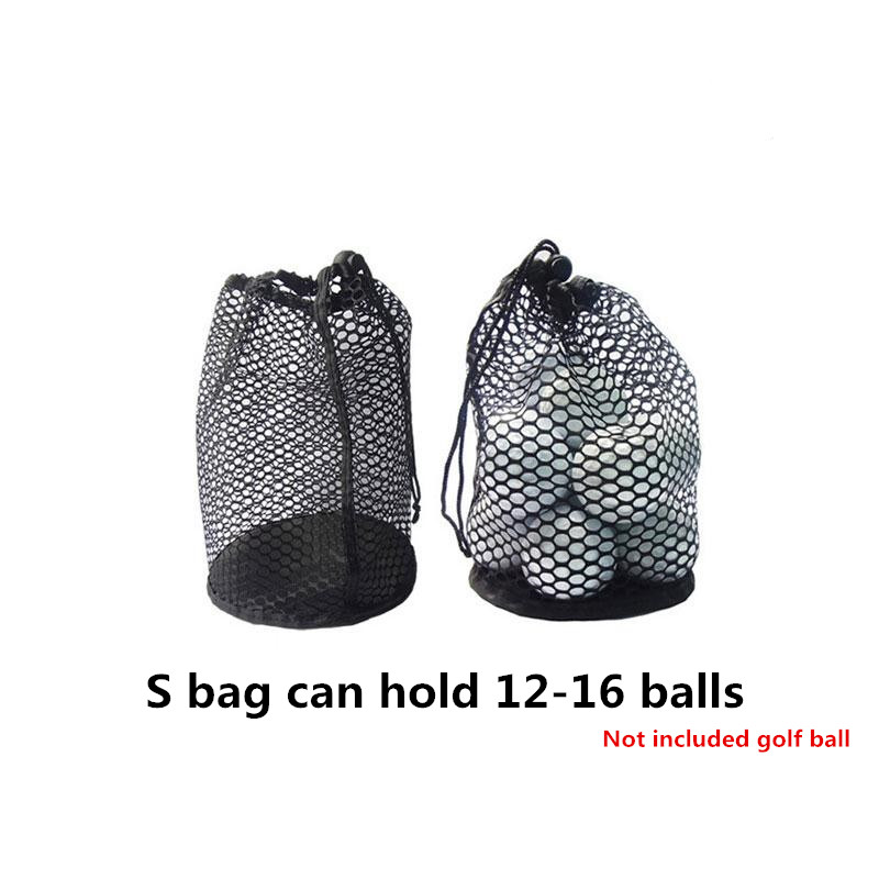 Sports Mesh Net Bag Black Nylon golf bags Golf Tennis 16/32/56 Ball Carrying Drawstring Pouch Storage bag Small size can hold 12-16 balls / price does not include balls