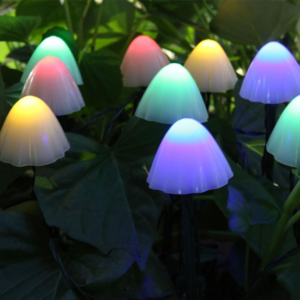 8-mode Solar String Lights Mushroom Shape Decorative  Light Outdoor Garden Lamp Color_10 lights 3 meters