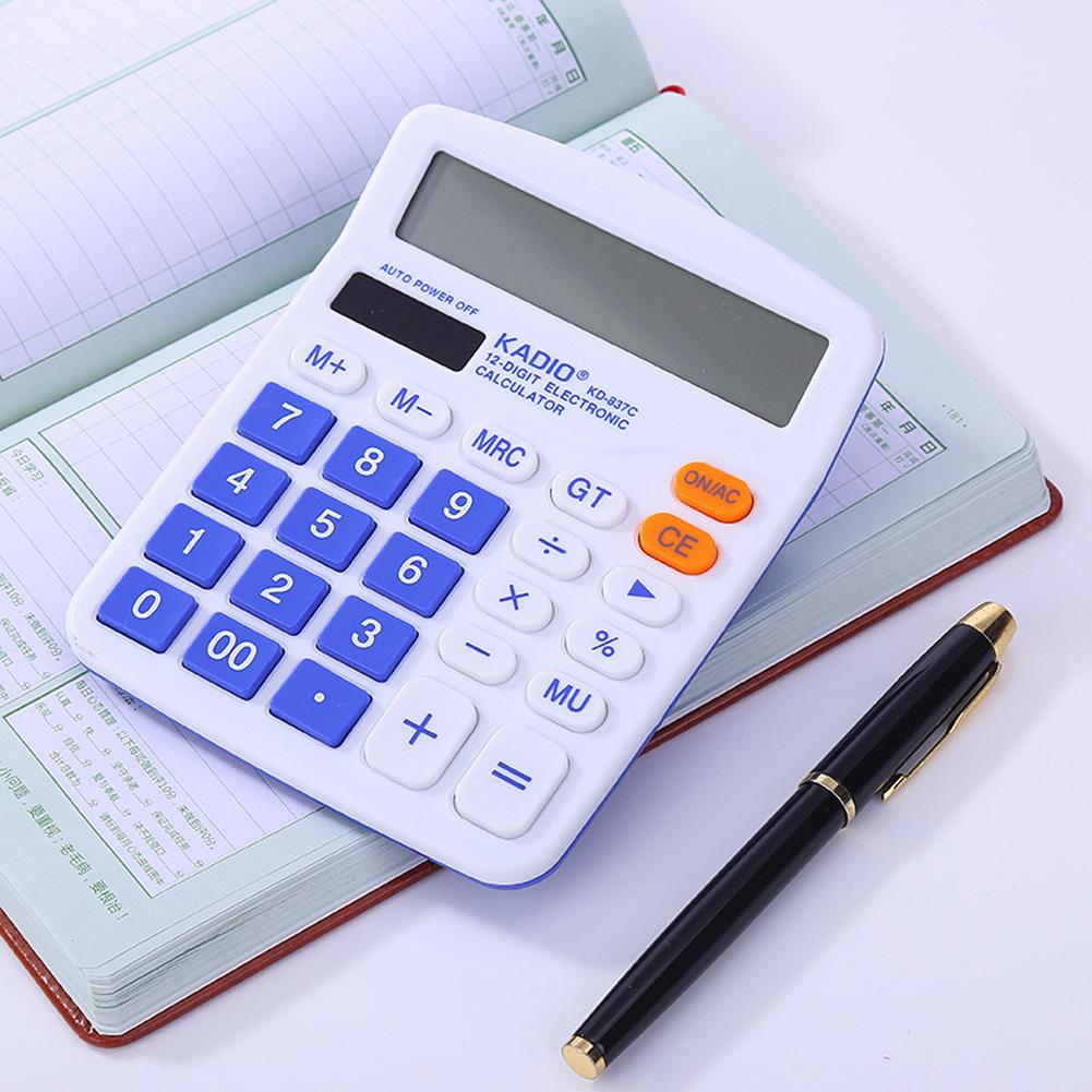 Test Calculator Desktop Solar Power Battery Plastic 12-bit Color Display Calculator Navy blue