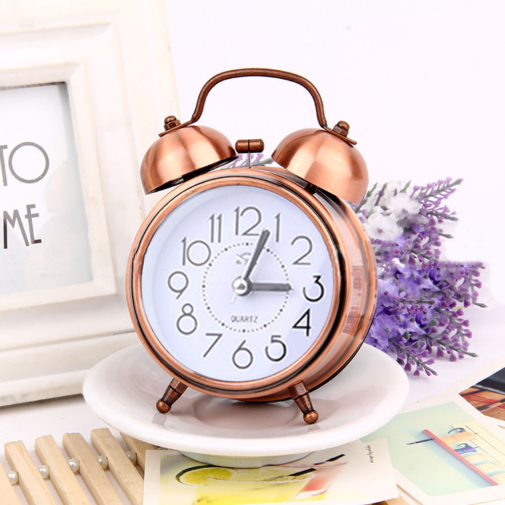 3Inches Retro Metal Mute Movement Noctilucence Alarm Clock Bedside Supplies