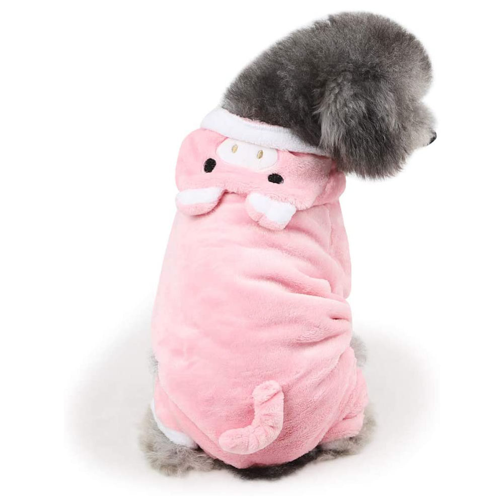 Dog Coat Piggy-shape Four-legged Autumn and Winter Casual Pet Clothes Pink_L