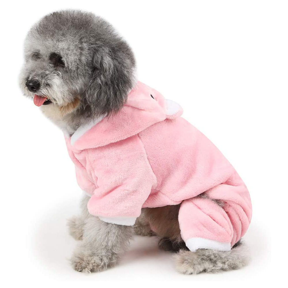 Dog Coat Piggy-shape Four-legged Autumn and Winter Casual Pet Clothes Pink_XL