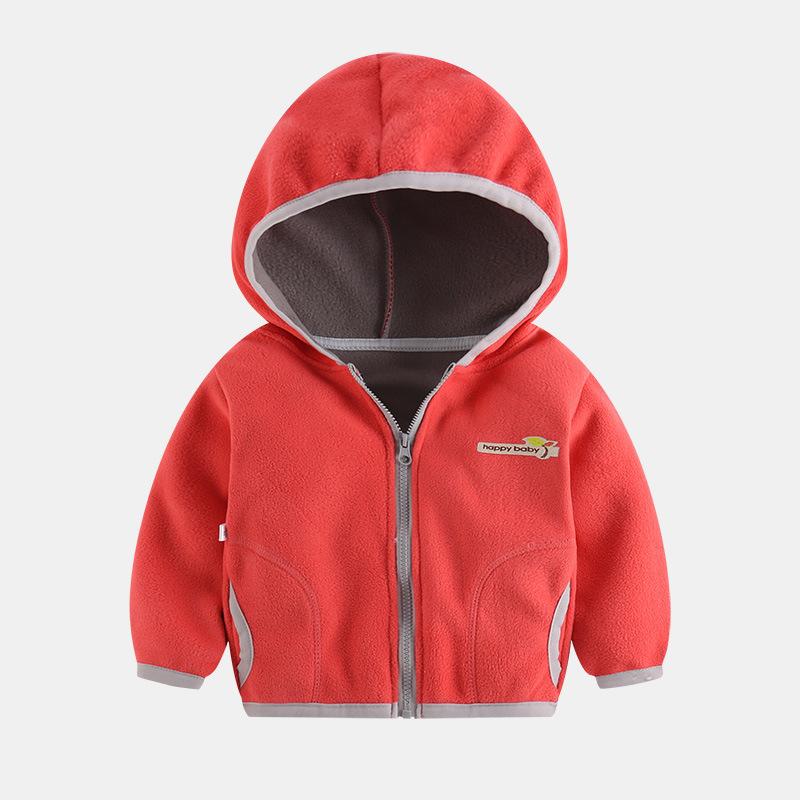 Polar Fleece Jacket for 3~8Y Boys Girls Casual Coat Kids Cardigan Sweatshirt Outwear Y Sweater - Watermelon Red_100cm
