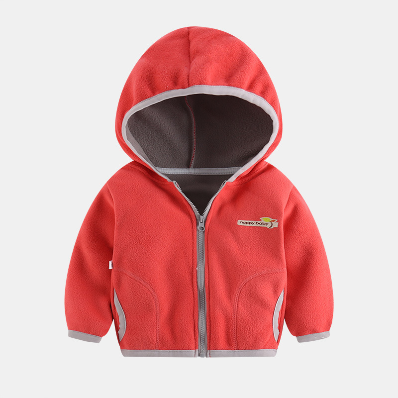 Polar Fleece Jacket for 3~8Y Boys Girls Casual Coat Kids Cardigan Sweatshirt Outwear Y Sweater - Watermelon Red_130cm