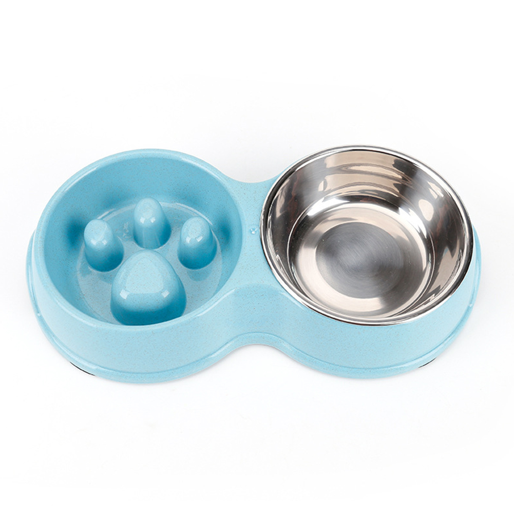 Wheat Straw Stainless Steel Double Bowl with Nonslip Pad for Pet Feeding