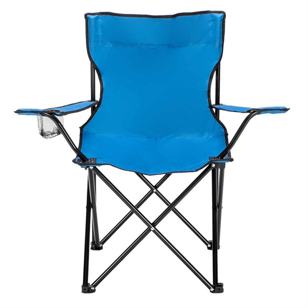 [US Direct] Camping  Chair Engineering Mechanics Design Iron Tube 600d Oxford Cloth Small Simple Foldable Chair 80x50x50 Blue