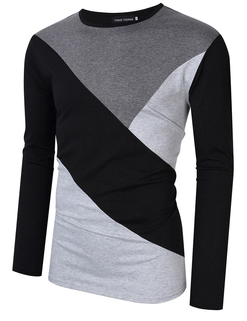 [US Direct] Yong Horse Men's Contrast Color Crewneck Long Sleeve Basic T Shirt Top Gray + black_XL