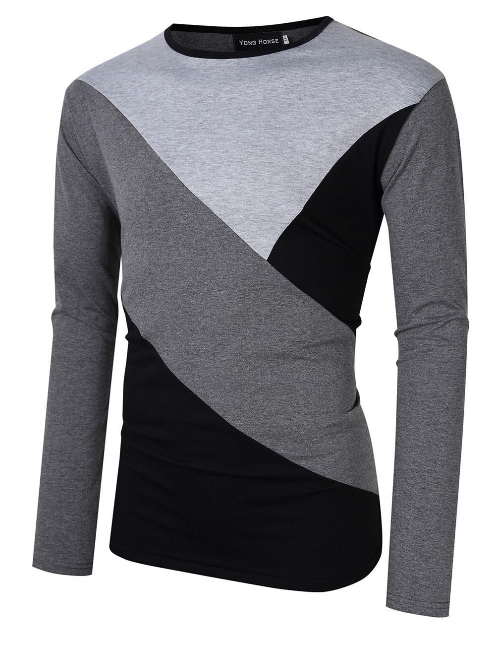 [US Direct] Yong Horse Men's Contrast Color Crewneck Long Sleeve Basic T Shirt Top Light gray + gray_XXL
