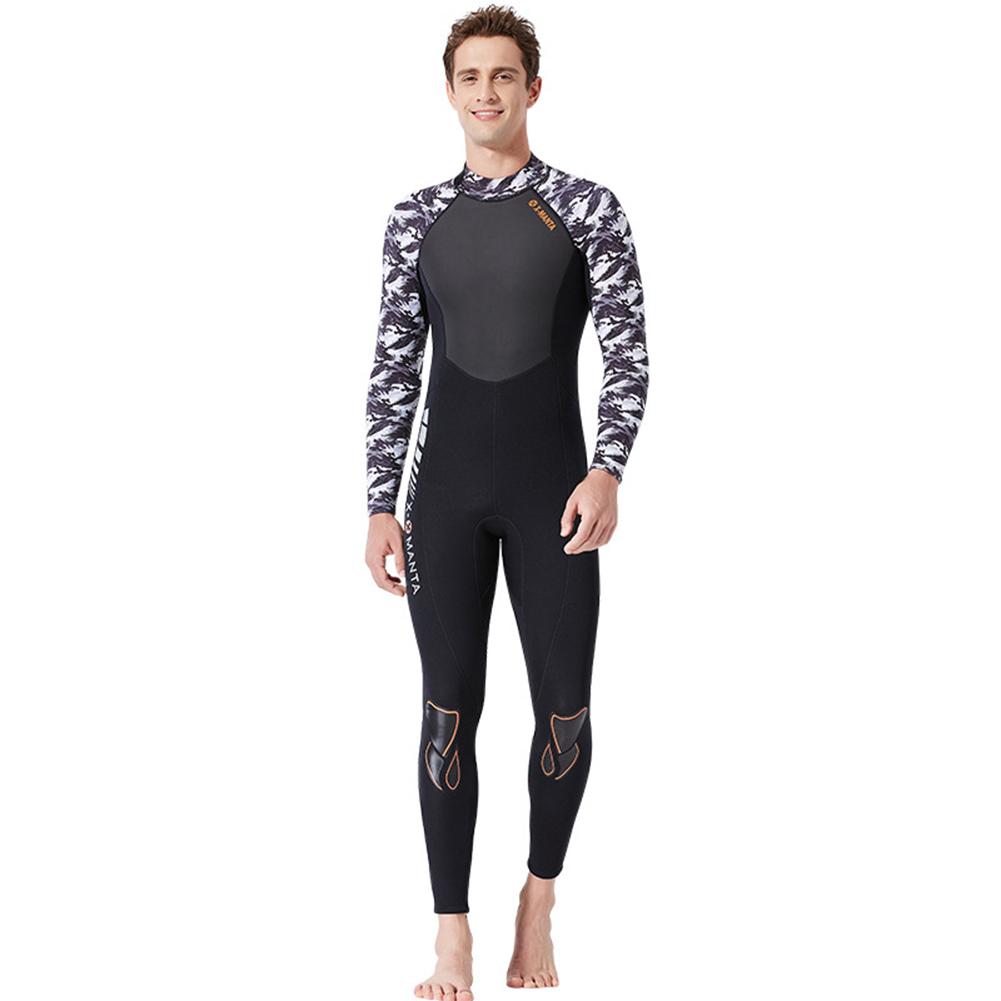 Diving Suit for Men 1.5MM Siamese Warm Jellyfish Suit Sun Block Female Ourdoor Long Sleeve Swimwear 1.5MM male black/white_M