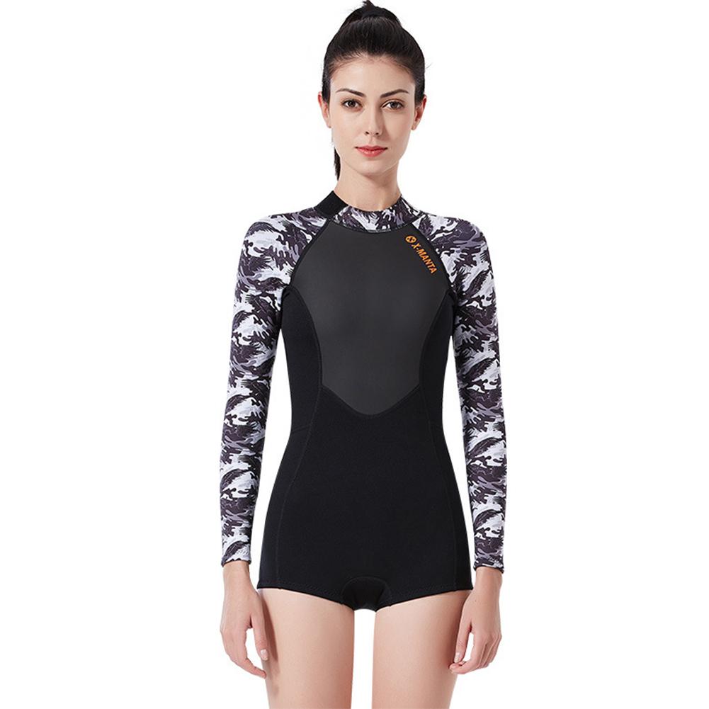 Wet-type Diving Suit 1.5MM Siamese Warm Long Sleeve Surfing Swimwear Female black/white_L