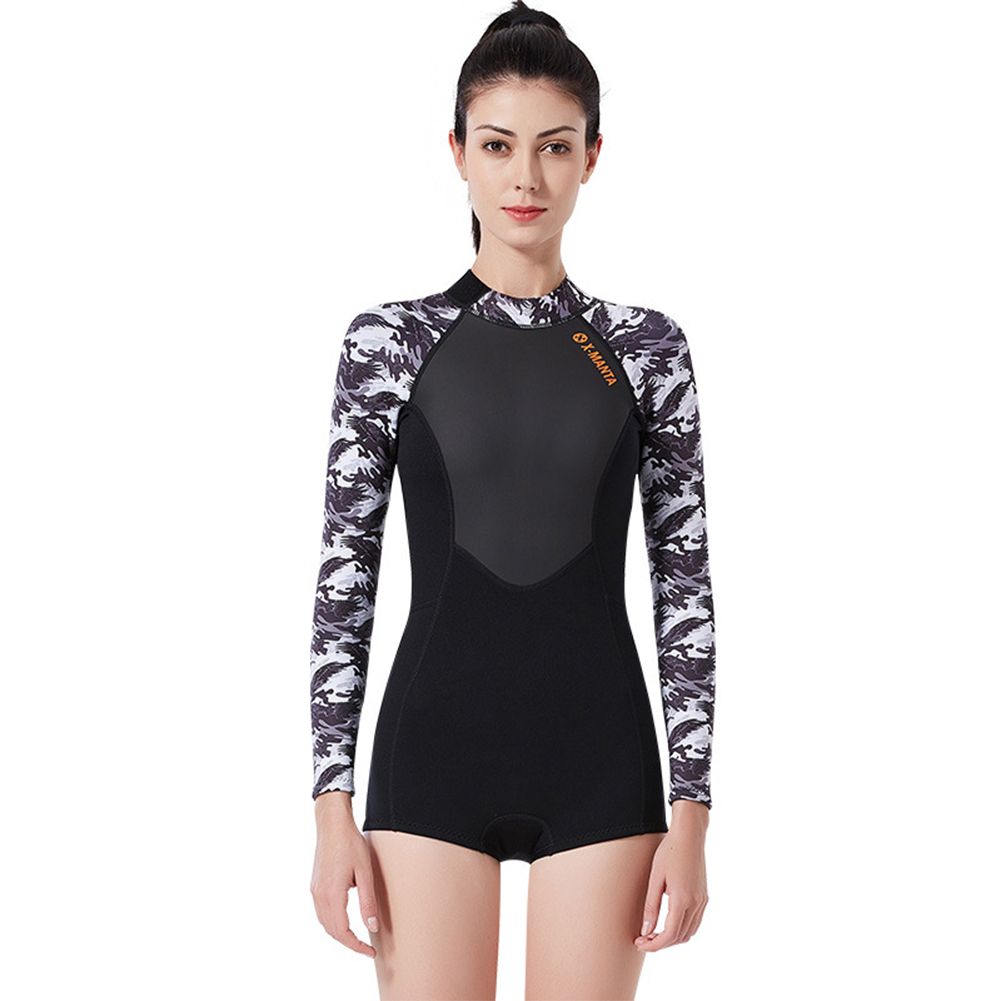 Wet-type Diving Suit 1.5MM Siamese Warm Long Sleeve Surfing Swimwear Female black/white_M