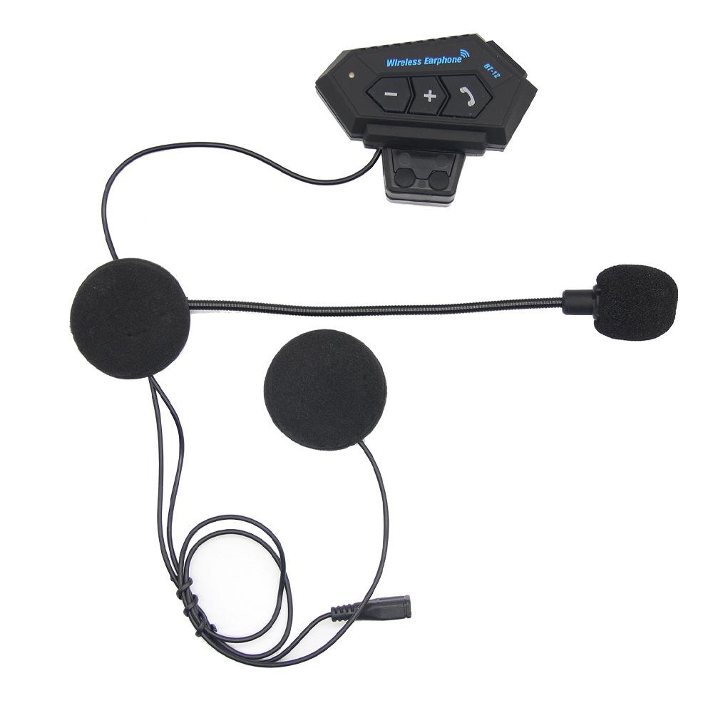 Motorcycle Helmet Wireless Bluetooth Headset Hands-free Phone Call Walkie-talkie Music Player Headset black