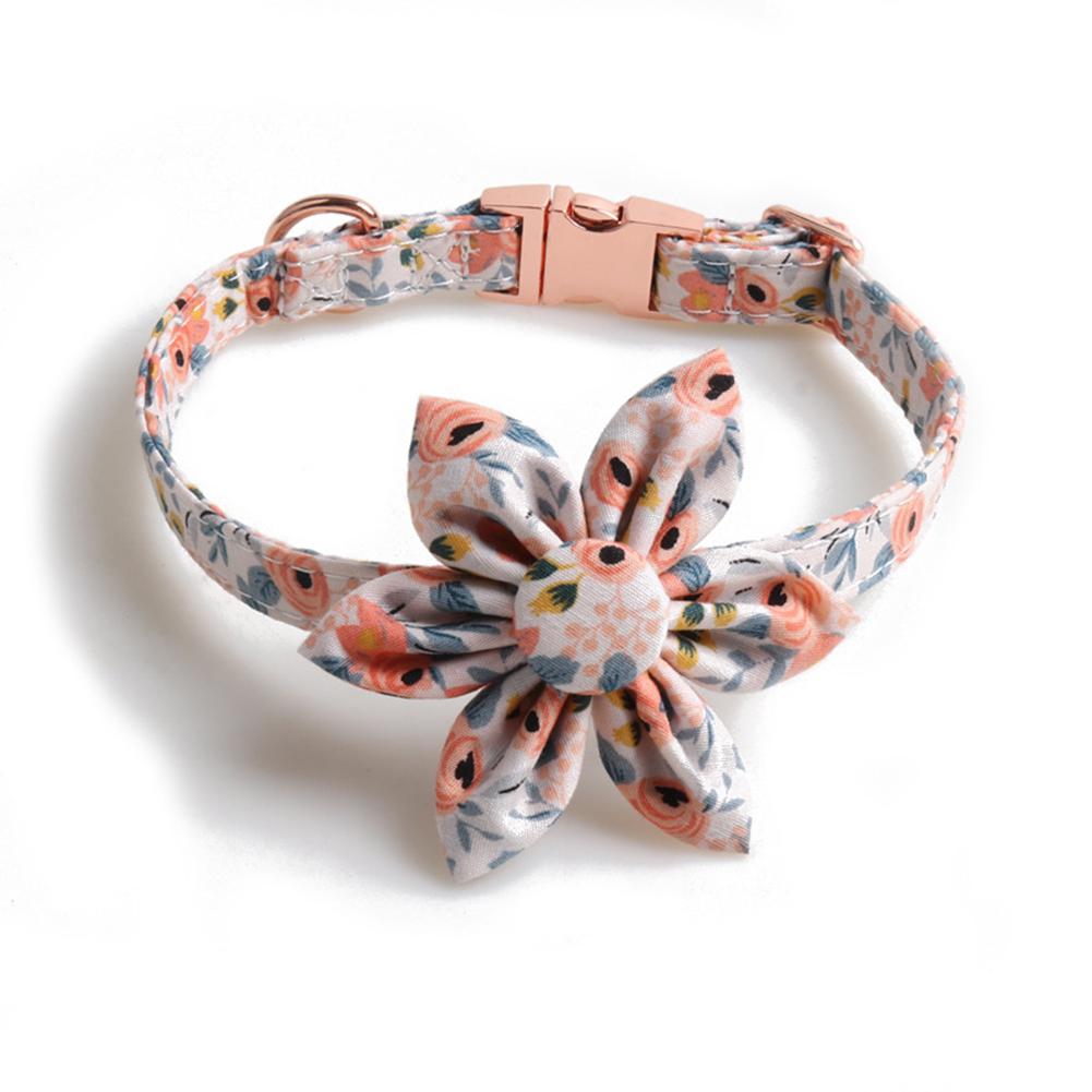 Pet  Collar Floral Print Collar With Button Sunflower Design Dog Collar Orange flower