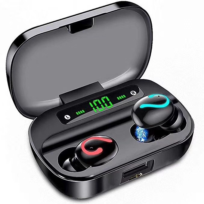 Q61 TWS Wireless Bluetooth 5.0 Earphones IPX7 Waterproof Headphones 3500mAh Charging Case 9D Stereo Headset LED Display Q61 fire type