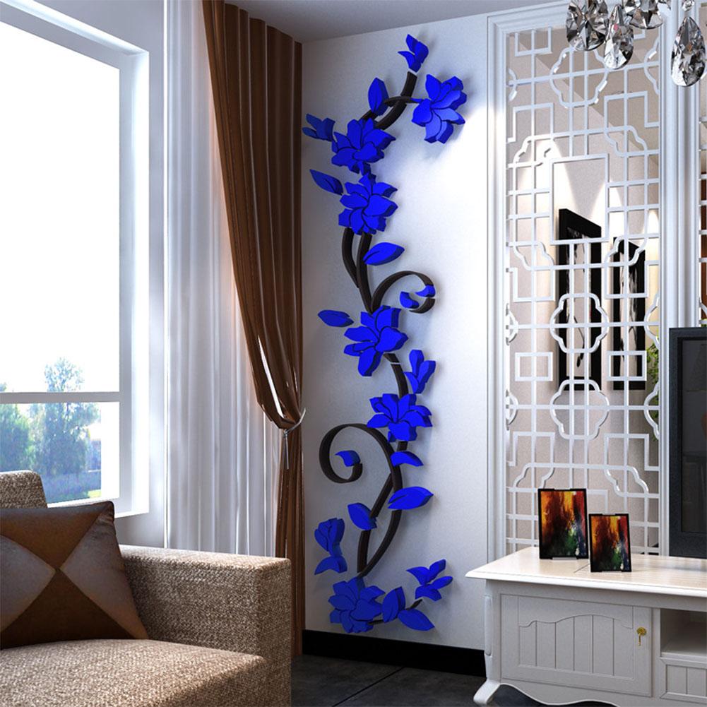 3D Rose Flower Rattan Pattern Wall Sticker for Hallway Living Room Corridor Decor