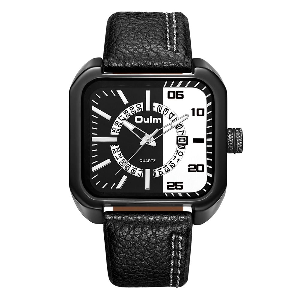 Oulm Men Unique Casual Business Watch -Silver