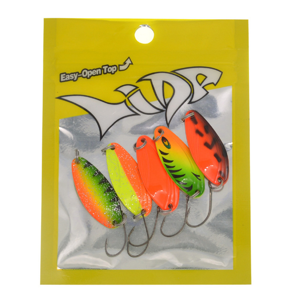 4.5g Colorful Fishing Lures Sequin Spoon Lure for Saltwater Freshwater  5PCS with packing