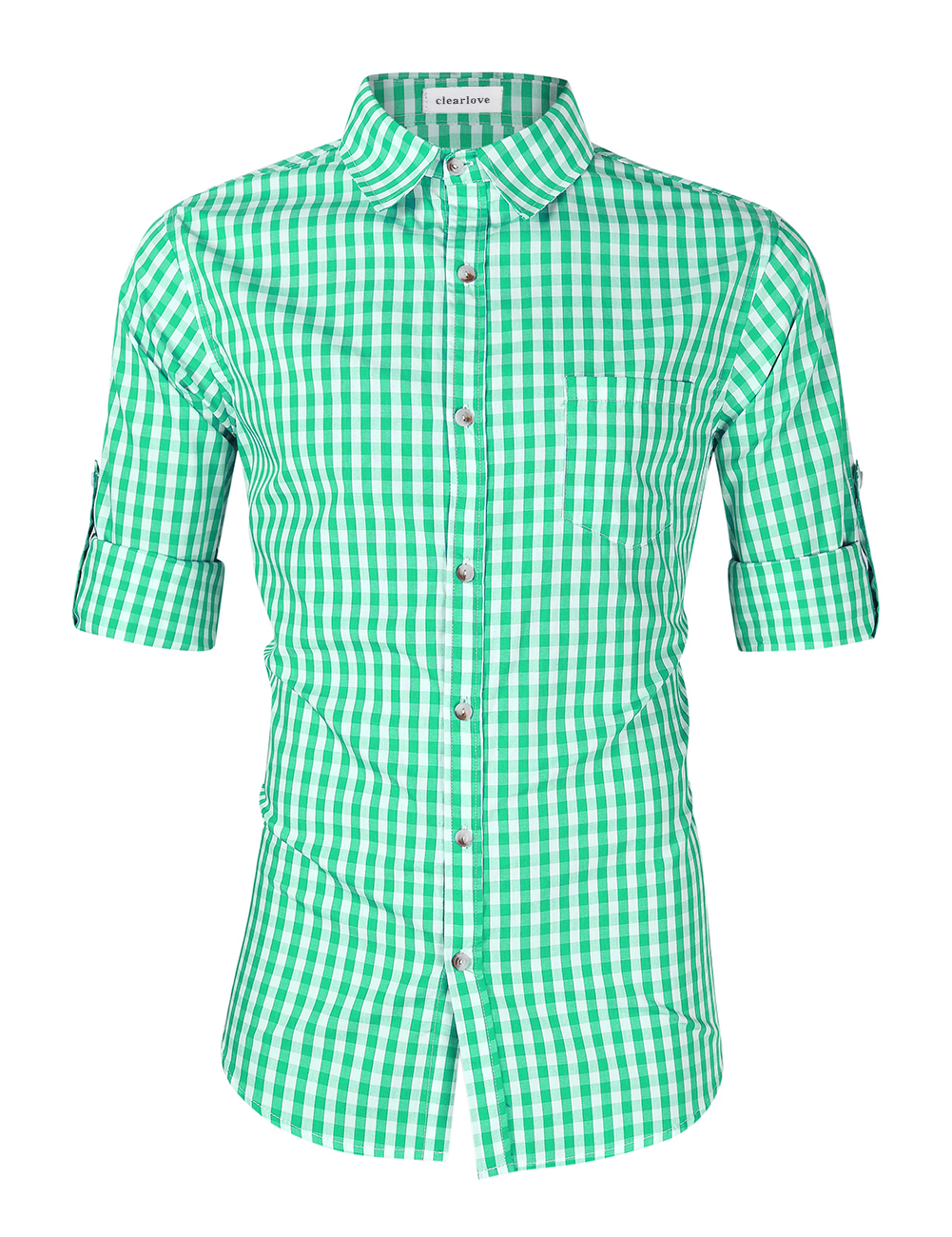 [EU Direct] Clearlove Men's Oktoberfest Stylish Plaid Long Sleeve Slim Fit Classical Shirt for Oktoberfest Costumes