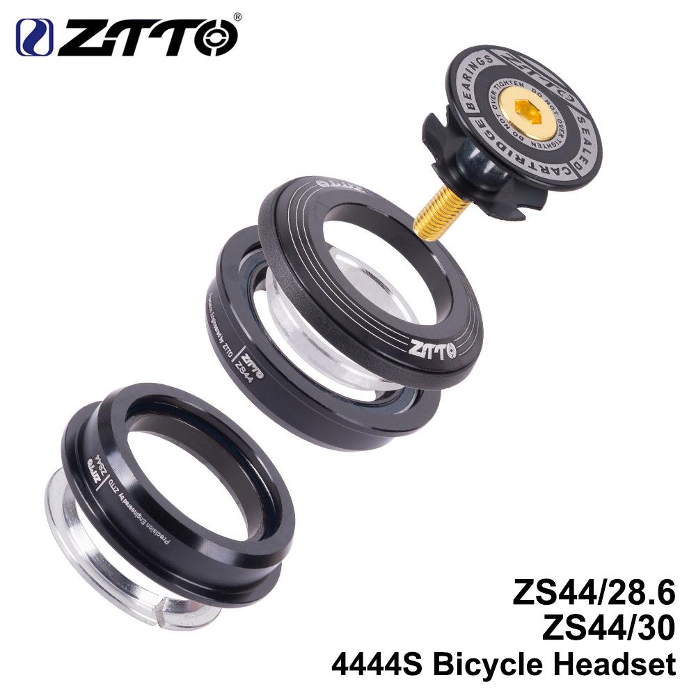 ZTTO Bicycle Headset MTB Road Bike Steering Column Headset 44mm Straight Tube Fork Bike Frame Low Profile Semi-integrated black