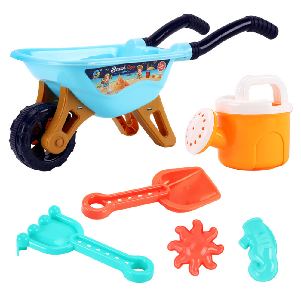 6pcs Boys Digging Sand Playing With Water Children Beach Toy Trolley Toy 733A-338 beach cart blue