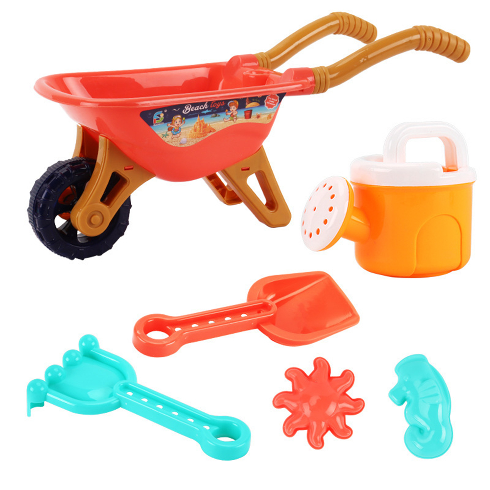 6pcs Boys Digging Sand Playing With Water Children Beach Toy Trolley Toy 733A-338 beach cart orange