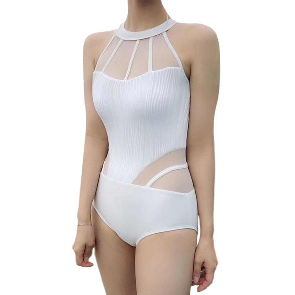 Women Swimwear Sexy One-piece Black White Mesh Lace Bikini Swimsuit white_L