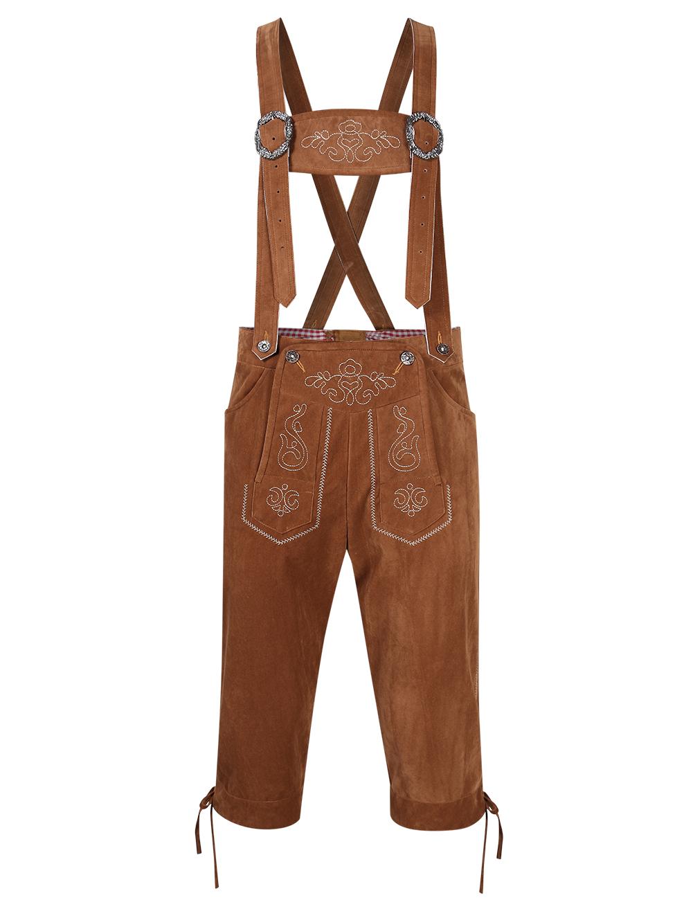 Clearlove Men's Stylish Embroidery Strap Pants Vintage Faux Fleece Party Dress Pants for Oktoberfest
