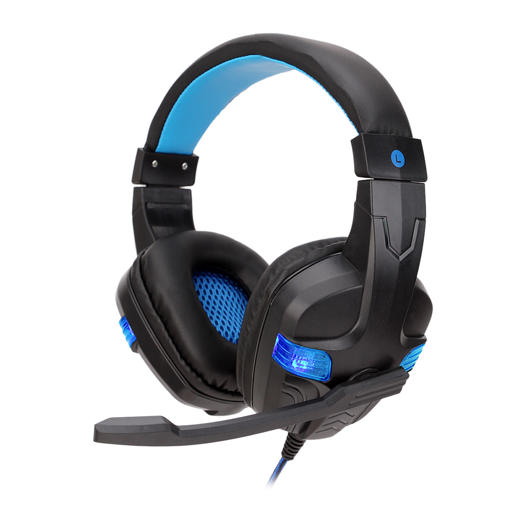 Gaming Headset Deep Bass Stereo Computer Game Headphones with Microphone LED Light  blue light