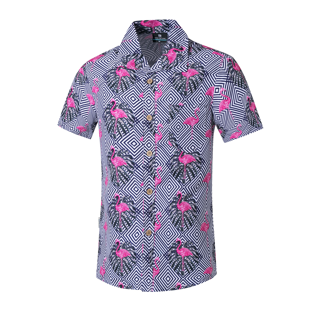 Men Summer Printed Short-sleeved Beach Shirt Quick-drying Casual Loose Top Photo Color_XL