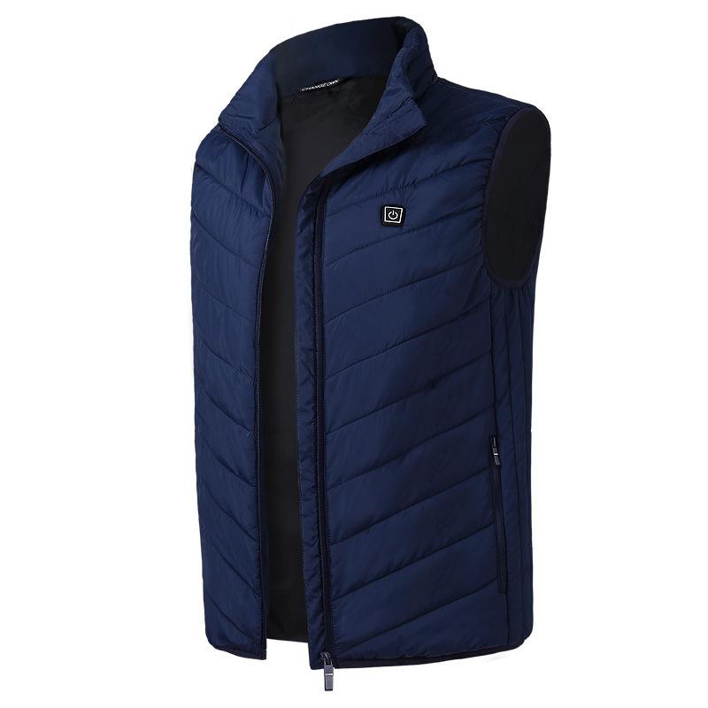 Electric Vest Heated Jacket USB Thermal Warm Heated Pad Winter Body Warmer blue_XL