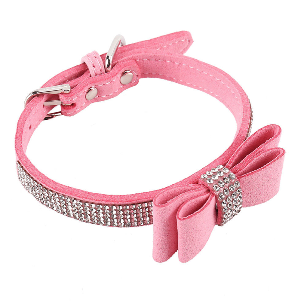 Leather Rhinestone Diamante Dog Collar Soft Bow Tie Design for Cat Puppy Small Pet Pink_S