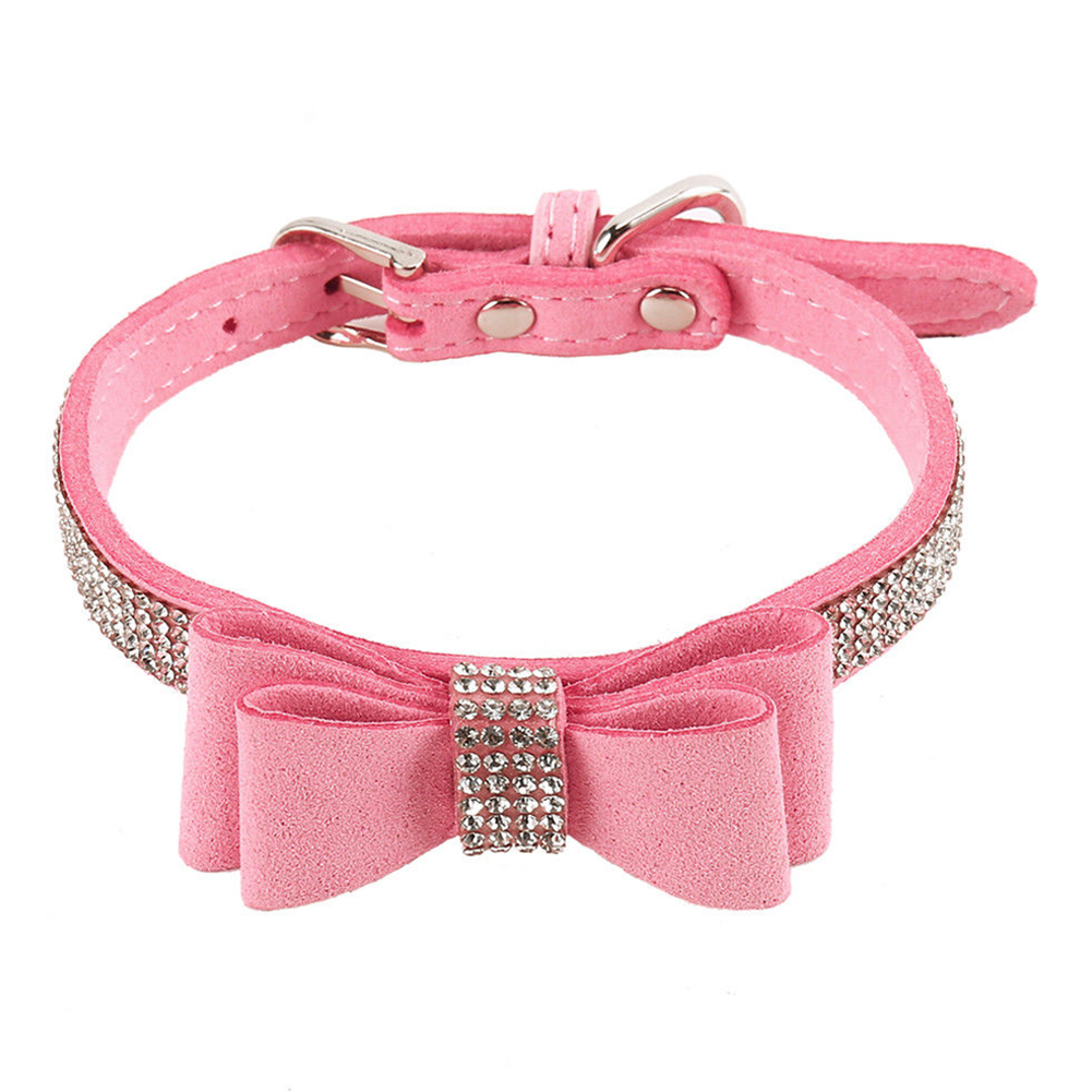 Leather Rhinestone Diamante Dog Collar Soft Bow Tie Design for Cat Puppy Small Pet Pink_M