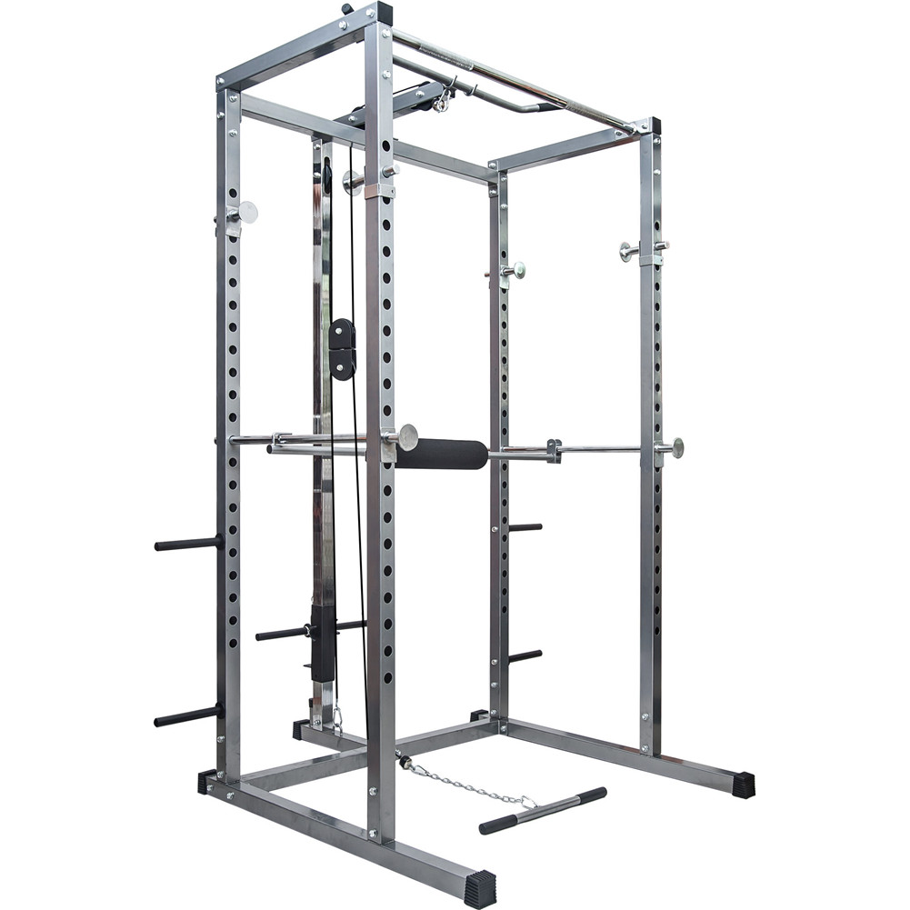 [US Direct] Power  Squat  Cage With Lat Pull Down+low Row Attachment Power Rack For Household Exercise Silver
