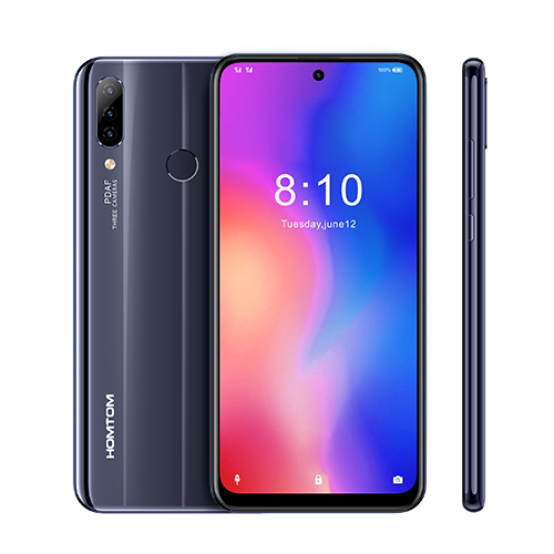 HOMTOM P30 Pro 4GB 64GB 4000mAh 6.41 Inch Android 9.0 Glass Case Mobile Phone Face ID 13MP MT6763 Octa Core 4G FDD-LTE Smartphone black