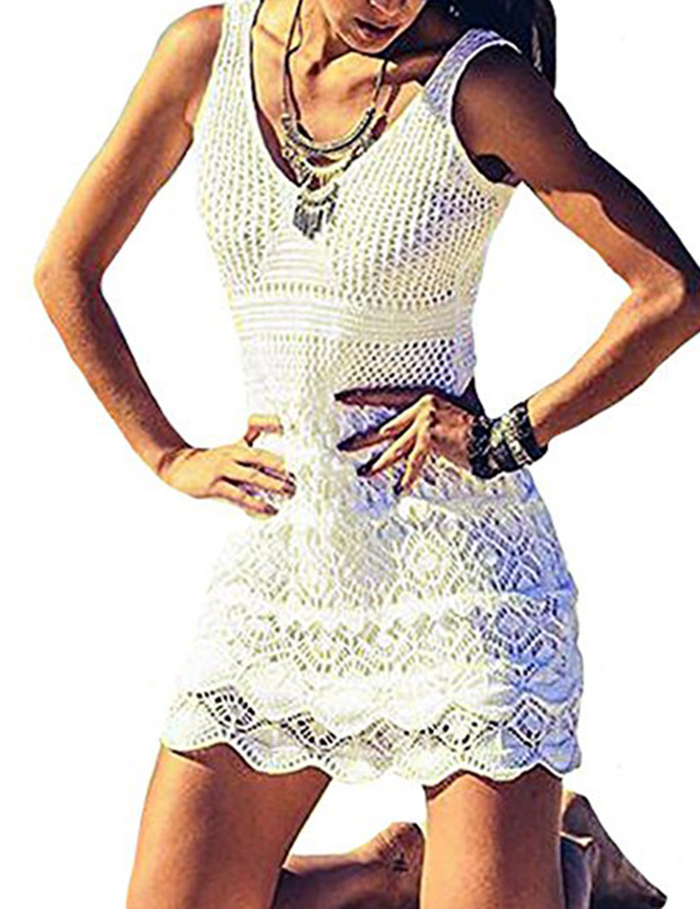 Women Sexy Hollow-out Kitted Sunscreen Smock Stereoscopic Dress Seductive Beach Wear Coat Gift